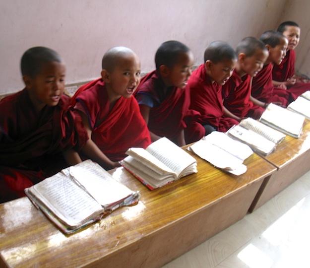 Young Tibetan Buddhist nuns in class