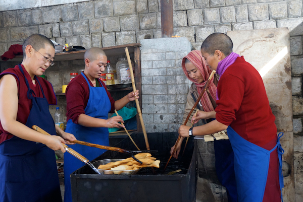 frying khapse for Tibetan New Year