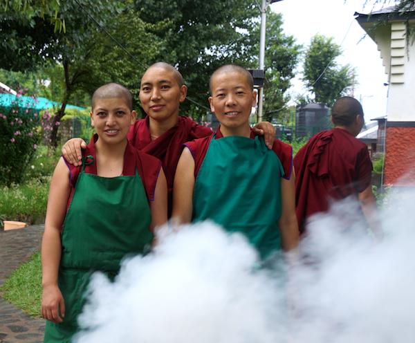 Tibetan Buddhist nuns incense offering
