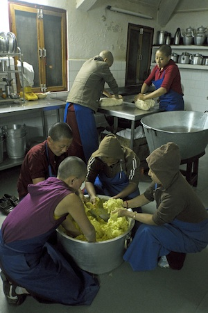 Tibetan Buddhist nuns cooking at Dolma Ling Nunnery