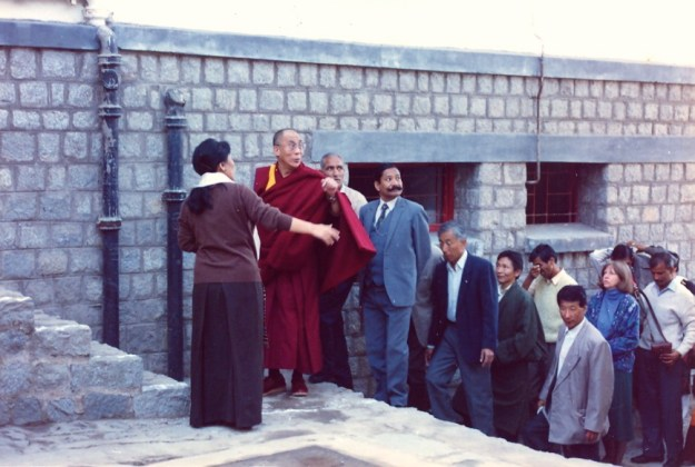 His Holiness the Dalai Lama on his first visit to Dolma Ling Nunnery and Institute