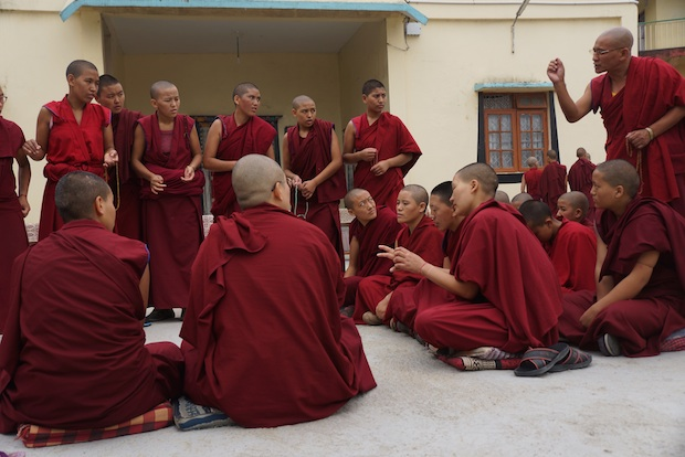 Tibetan Buddhist nuns debating at the Jang Gonchoe in 2015