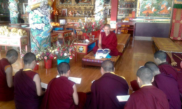 Venerable Tenzin Kunsel teaching nuns