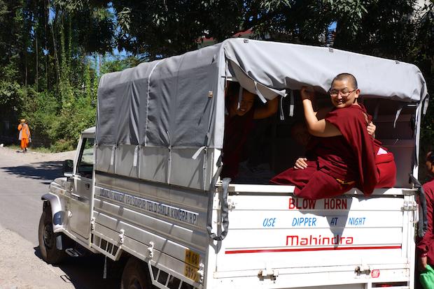 Tibetan nuns shopping