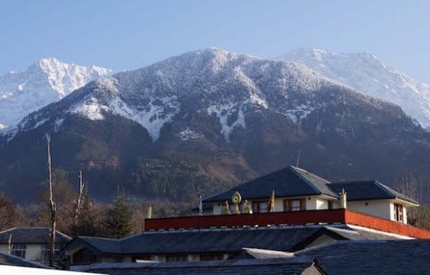 Dolma Ling Nunnery, snow mountains, Dhauladhar range, Indian Himalayas, winter in the nunneries