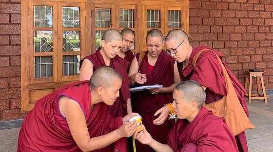 Tibetan Buddhist nuns taking part in the Emory-Tibet Science Initiative in 2019.