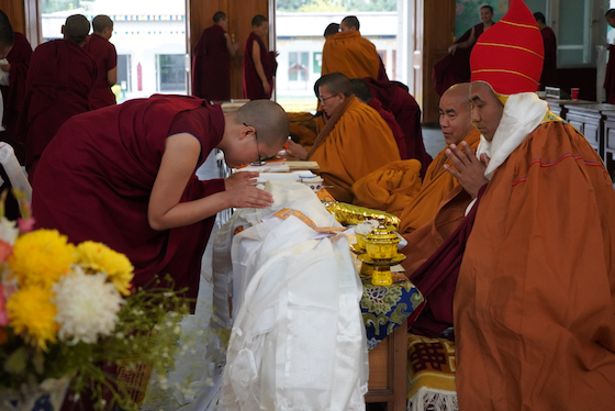 Felicitating Lobpon Yeshe Tsering on being enthroned as Khenpo copy