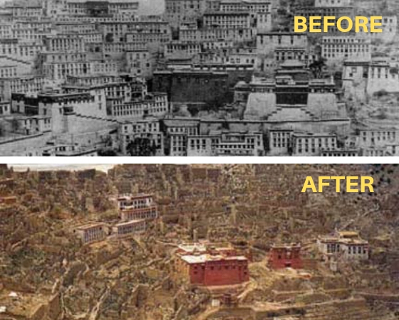 Cultural Revolution inTibet, monastic university, Ganden Monastery, one of the three great monastic universities in Tibet, before and after the Chinese Cultural Revolution.