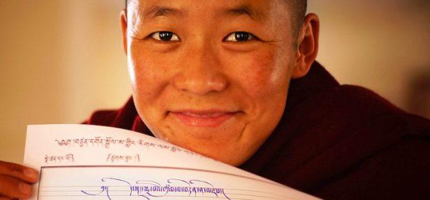 Tibetan Buddhist Nun, Tibetan calligraphy, Tibetan Nuns Project
