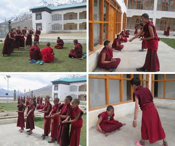 Nuns at Sherab Choeling practice Tibetan debate