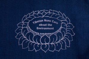 Shopping Bag Navy Blue is made of cotton, reusable and eco-friendly with Tibetan Nuns Project screenprint on both sides, handmade by Tibetan nuns.
