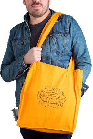 Shopping bag side one on model