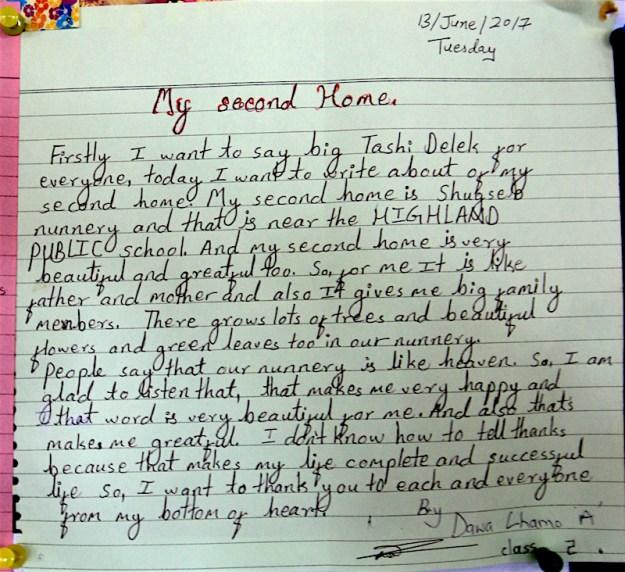 letter from Shgusep nun, Shugsep Nunnery, Tibetan Nuns Project