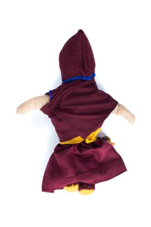Nun Dolls are handmade by the nuns at Dolma Ling Nunnery, made from recycled nuns' robes, dolls wear mini mala and a set of prayer beads