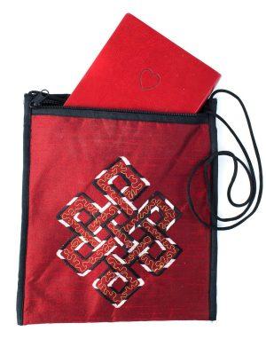 silk handbag, silk purse, purse, zippered bag, eternal knot bag, zippered pouch
