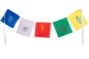 Mini multi-colored prayer flags Mini Mani, Tibetan prayer flags are inscribed with auspicious symbols, invocations, prayers, and mantras