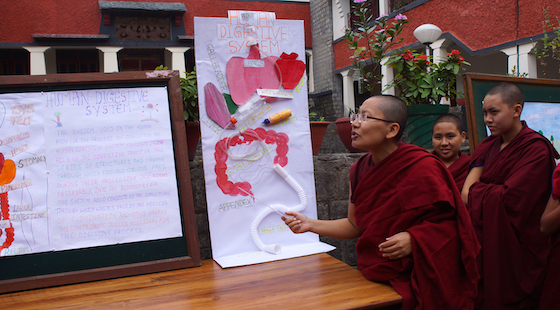 Tibetan Buddhist nun explains science fair poster