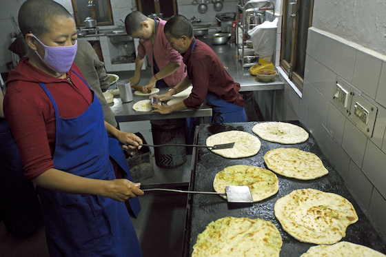 making parathas, inside the kitchen at Dolma Ling Nunnery