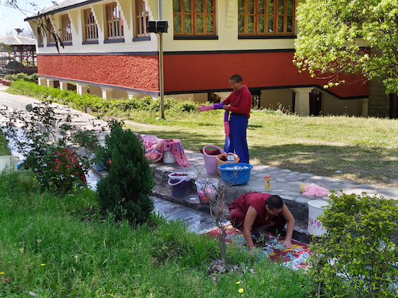Tibetan Buddhist nuns do laundry