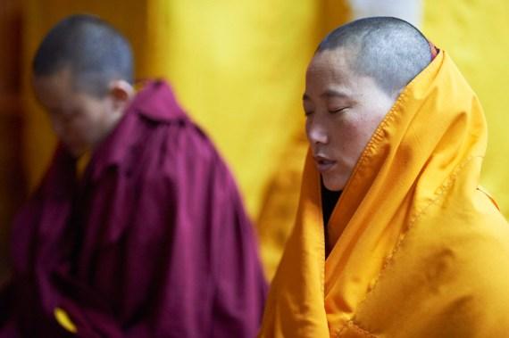 Tibetan Buddhist nuns, Tibetan Buddhist holidays, praying, Olivier Adam, Tibetan Buddhism