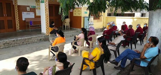 Tibetan Buddhist nuns wait to be vaccinated, vaccinations