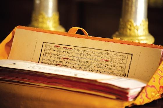 Tibetan block printed prayers by Olivier Adam