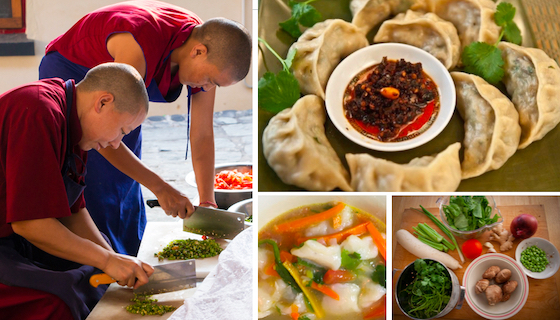 Tibetan vegetarian recipes collage