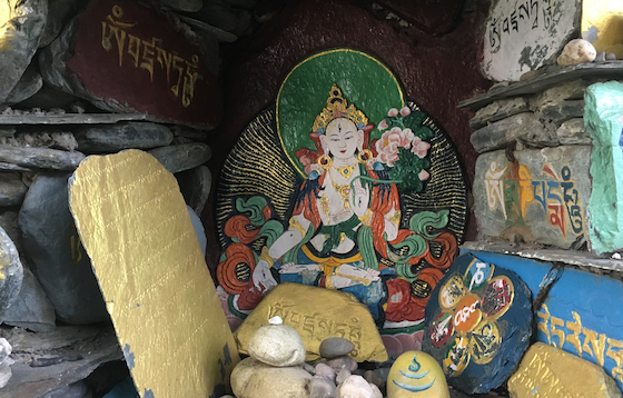 White Tara surrounded by mani stones by Heather Wardle