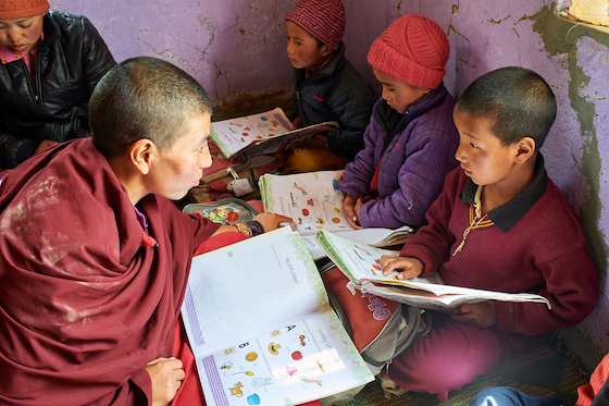 Young girls studying at Dorjee Zong Nunnery.