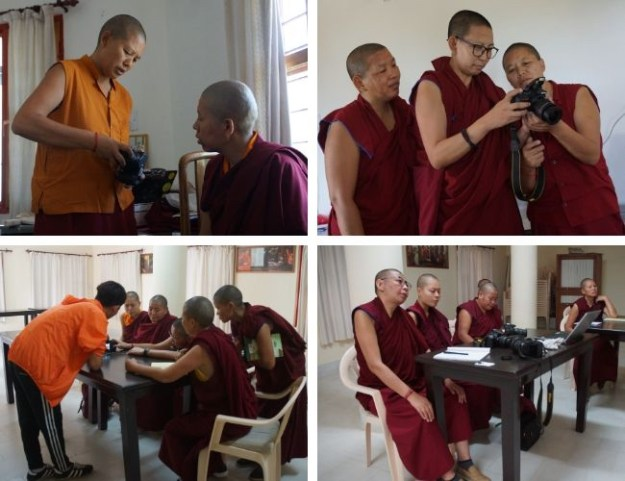collage of photos showing Tibetan Buddhist nuns receiving media equipment training