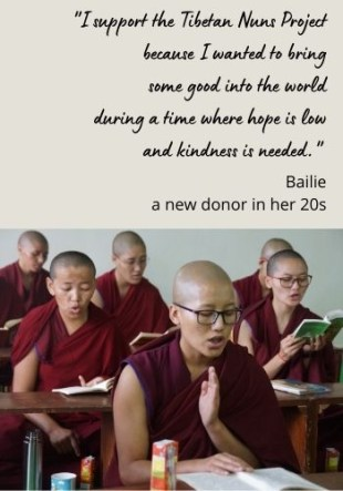 testimonial from a young Tibetan Nuns Project donor