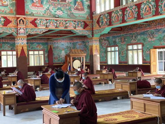 Tibetan Buddhist nuns take examinations at Sakya College for Nuns