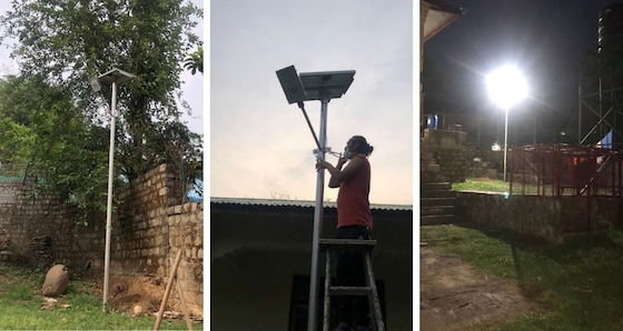 new solar lights at Shugsep Nunnery and Institute