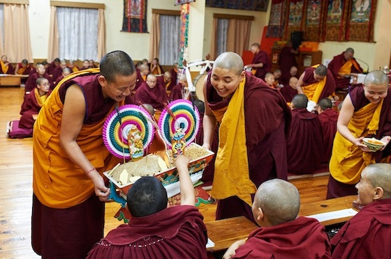 Tibetan Buddhist nuns offering at Losar Tibetan New Year