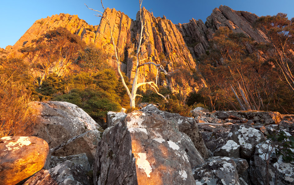 Organ Pipes at sunrise, Mt Wellington. Photo: Michael Roberts