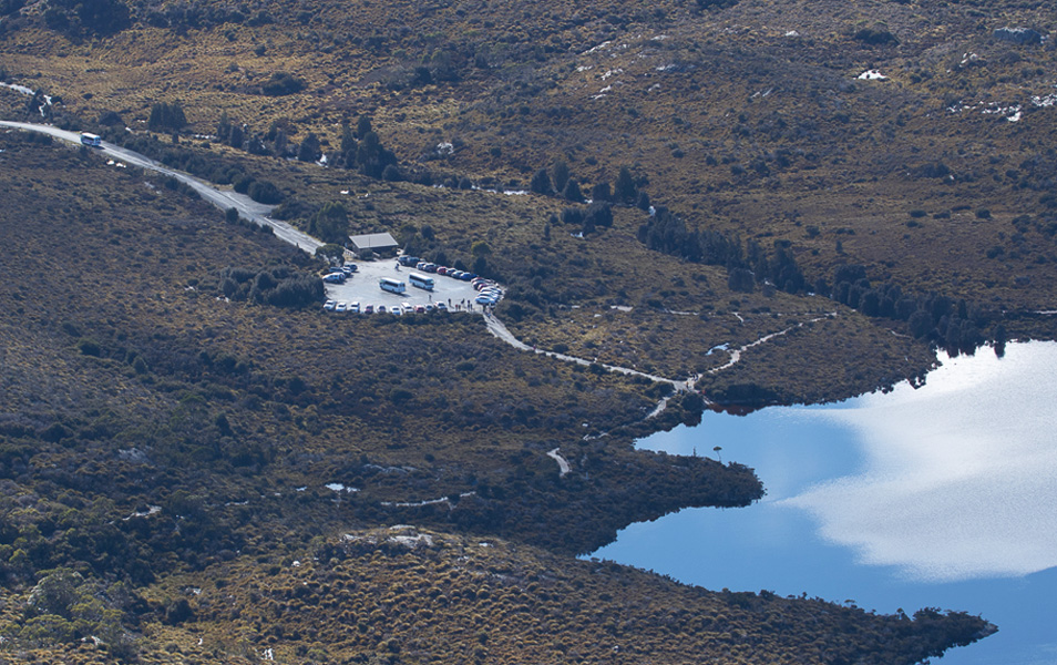 Dove Lake carpark from Marions Lookout, Cradle Mountain. Photo: Nick Sawyer