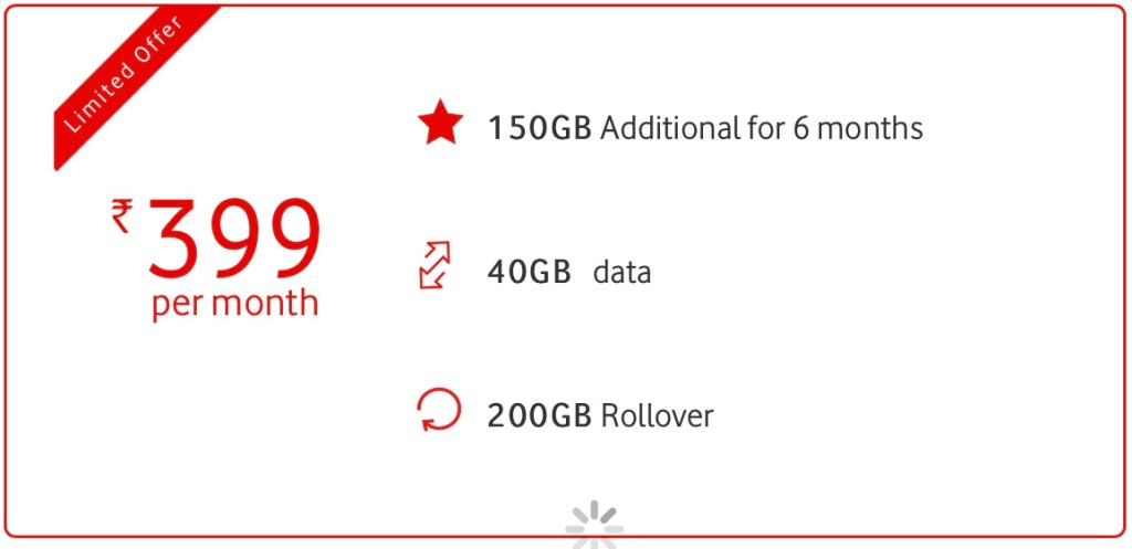 Vodafone Idea RED 399 Offering 150GB Extra Data In India