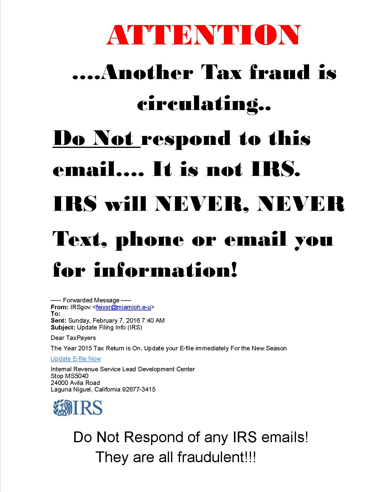 Attention W Irs Fraudulent Scam
