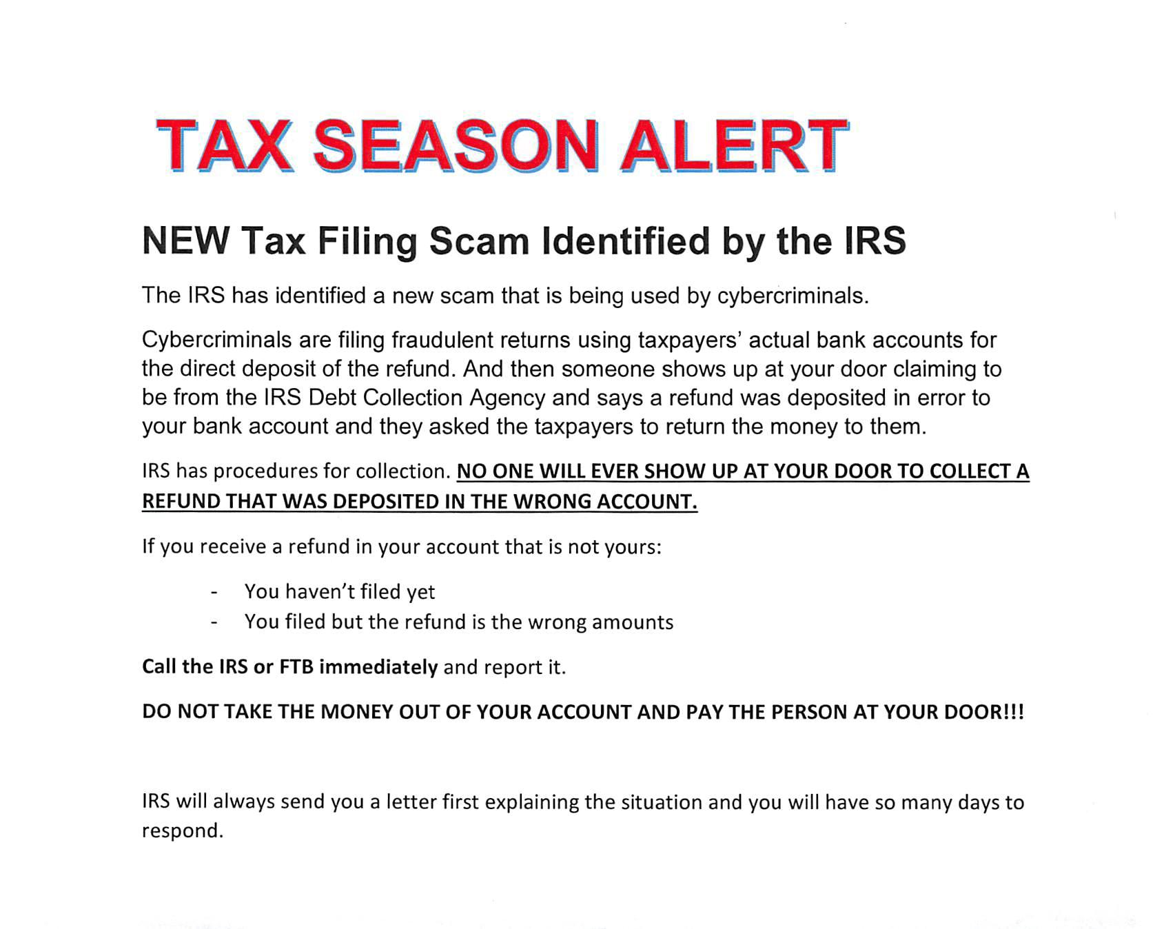 New Tax Scam Alert