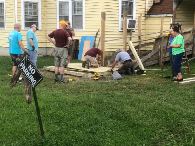 TVBA Team helping Rhea County family with wheelchair ramp