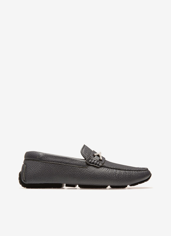 Men's Pieret Grey Leather Driver Loafers.
