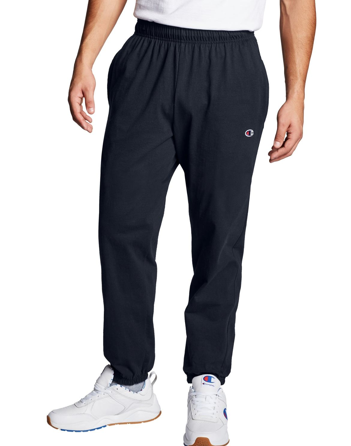Men's Athletics Closed Bottom Navy Jersey Pants by Champion.