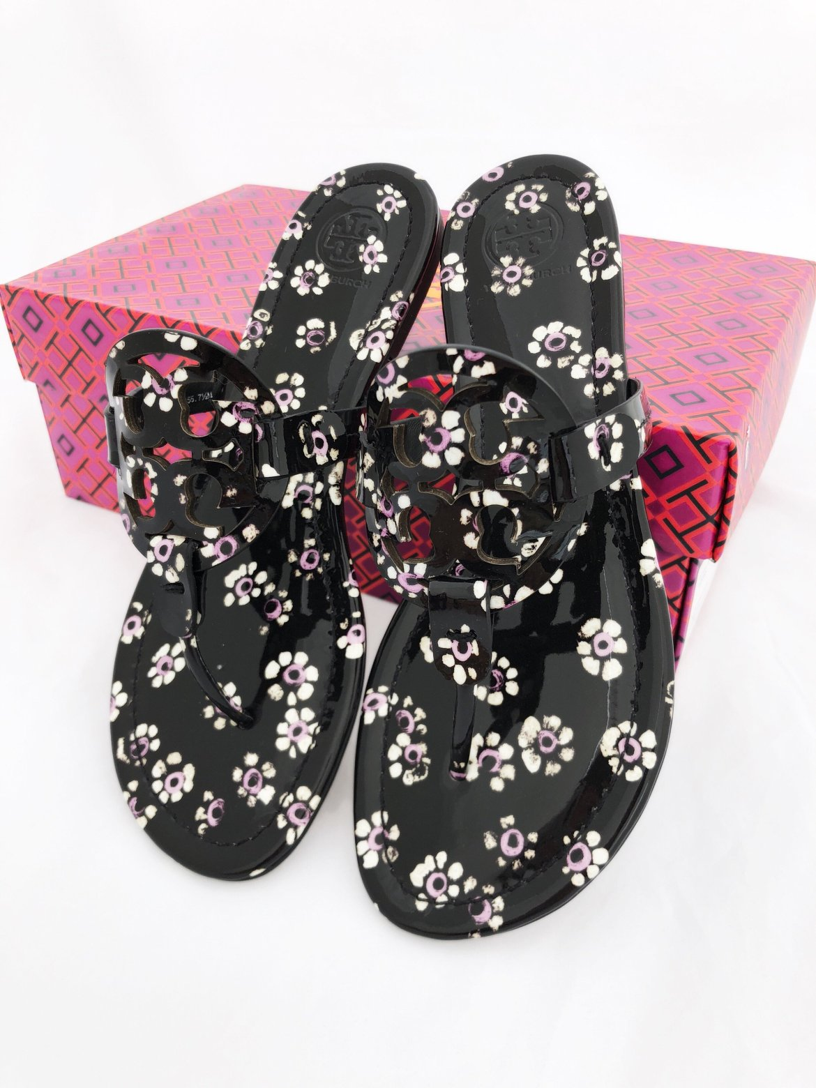 Tory Burch Miller Sandals Thong Flip Flop Patent Leather Black Floral 7.5 from Gaby's Bags, LLC.
