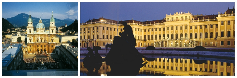 imperial cities rail circle tour, Schoenbrunn Palace and Church of Mariahilf Vienna Austria to-europe.com