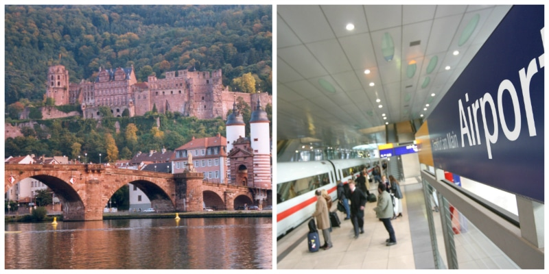 imperial cities rail circle tour, Heidelberg Castle, Old Bridge and Frankfurt Int. Airport