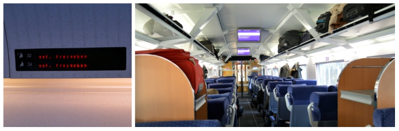 German Holiday Tours by Rail, Seat Number Display and Second Class Compartment on ICE