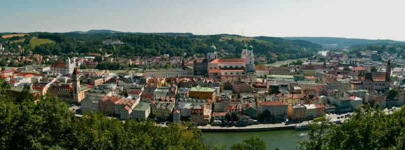 Blue Danube Rail Tour, Melk Cruise, View of Passau Germany to-europe.com
