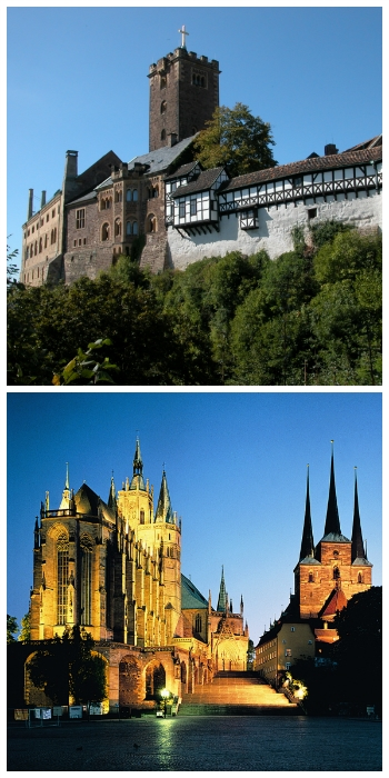 Rhine River cruise, Wartburg Castle Eisenach and Erfurt Cathedral Germany to-europe.com