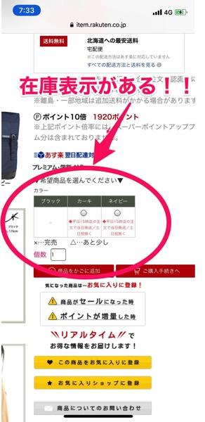 楽天のスマホ注文画面-PC表示2