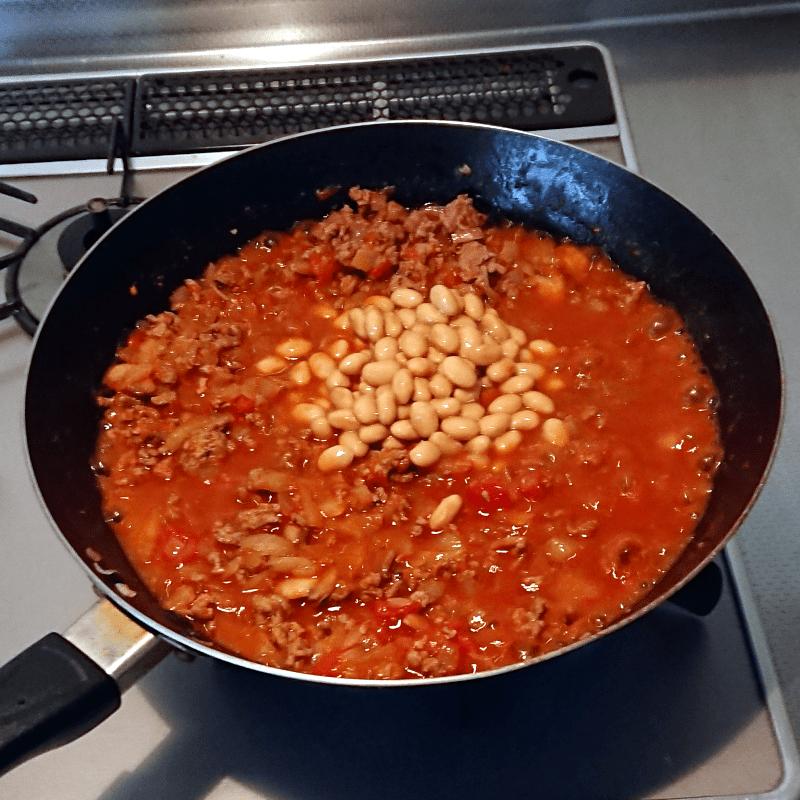 チリコンカンの作り方 大豆を入れる